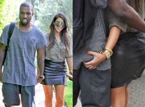 Kimmy gets a handful of Yeezus.