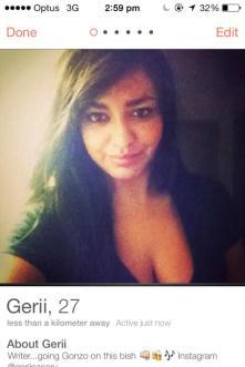Gerii's Tinder profile.