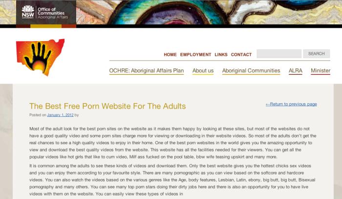 Aboriginal Affairs hacked promoting porn