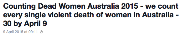 violent deaths women Australia